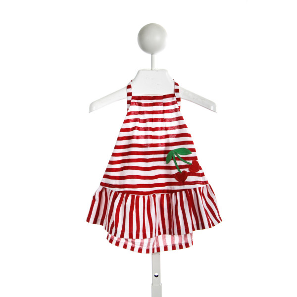 LINDSEY BERNS RED STRIPED TOP WITH CHERRIES