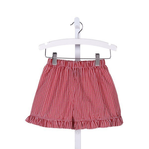 EVERYDAY HEIRLOOM  RED  GINGHAM  SHORTS WITH RUFFLE