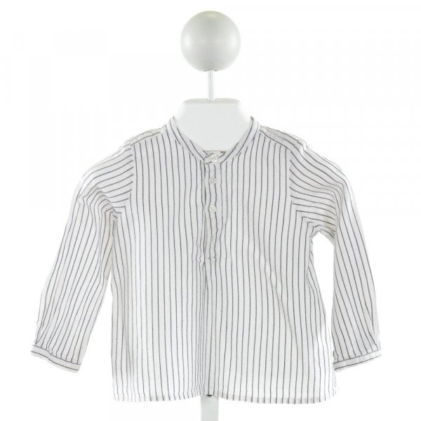 BONPOINT  IVORY  STRIPED  CLOTH LS SHIRT