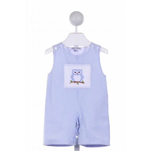 SWEET DREAMS  BLUE  STRIPED EMBROIDERED JOHN JOHN/ SHORTALL