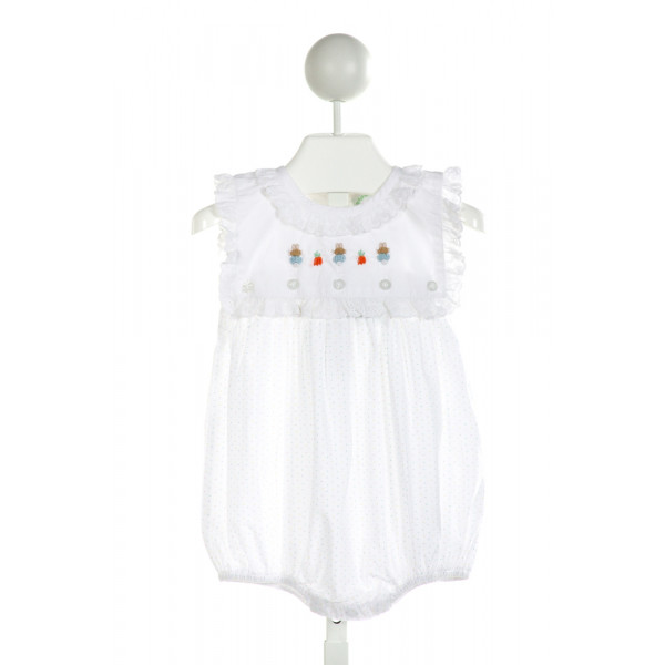 GRACE & JAMES  OFF-WHITE  POLKA DOT EMBROIDERED BUBBLE WITH EYELET TRIM