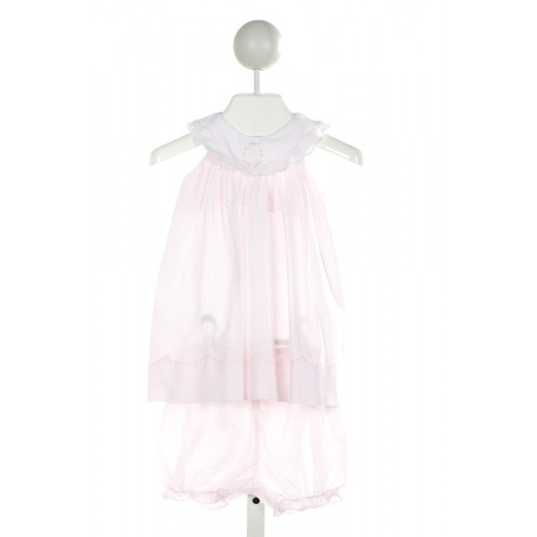 PETIT AMI  LT PINK   EMBROIDERED 2-PIECE OUTFIT WITH RUFFLE