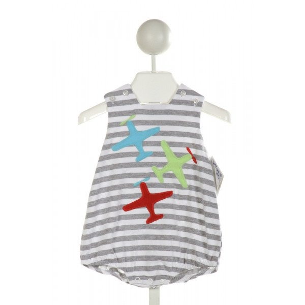 BAILEY BOYS  GRAY  STRIPED EMBROIDERED BUBBLE