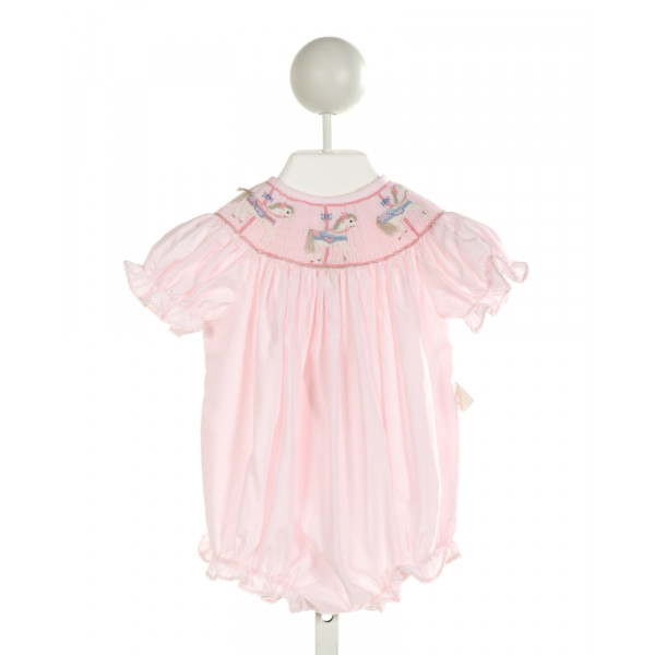 LULU BEBE  LT PINK   SMOCKED BUBBLE WITH PICOT STITCHING