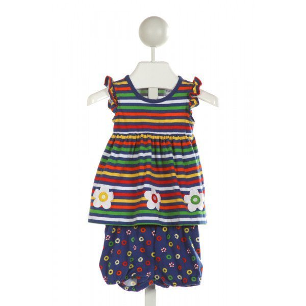FLORENCE EISEMAN  ROYAL BLUE  STRIPED EMBROIDERED 2-PIECE OUTFIT WITH RUFFLE