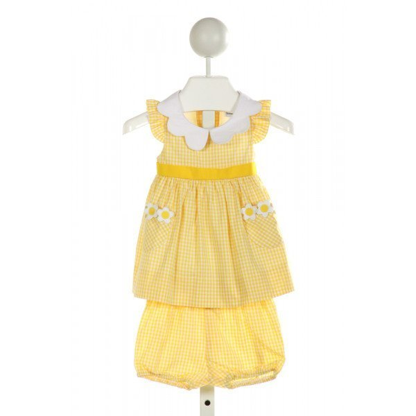 FLORENCE EISEMAN  YELLOW  GINGHAM APPLIQUED 2-PIECE OUTFIT WITH RUFFLE