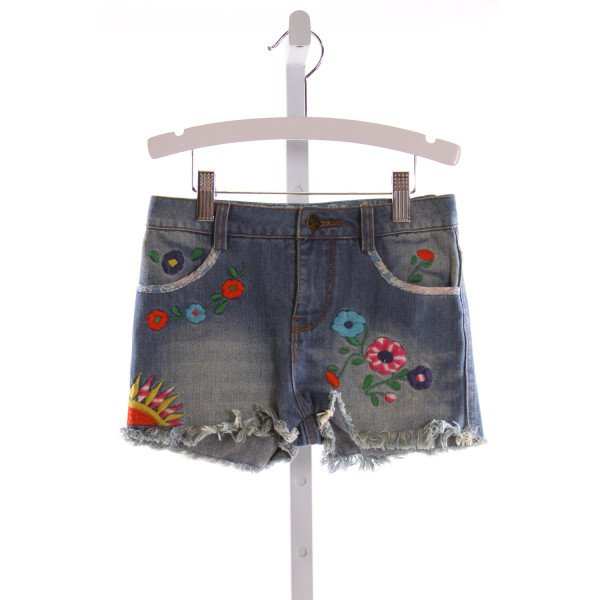 NATIVE FUNK & FLASH  BLUE DENIM  EMBROIDERED SHORTS