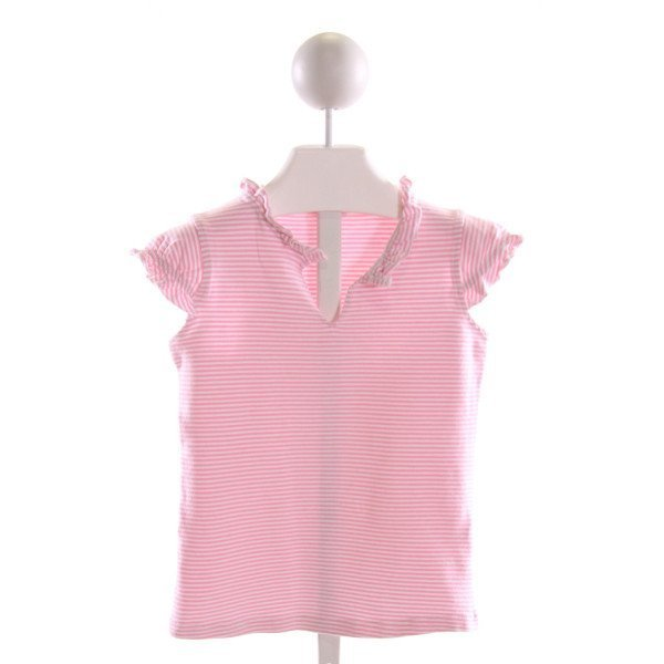 PAPO D'ANJO  LT PINK  STRIPED  T-SHIRT WITH RUFFLE