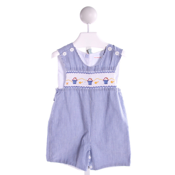 THE PLANTATION SHOP  BLUE  STRIPED SMOCKED JOHN JOHN/ SHORTALL