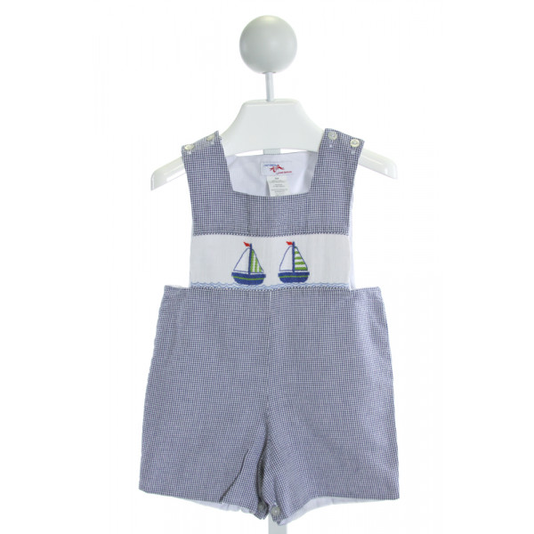SILLY GOOSE  ROYAL BLUE SEERSUCKER GINGHAM SMOCKED JOHN JOHN/ SHORTALL