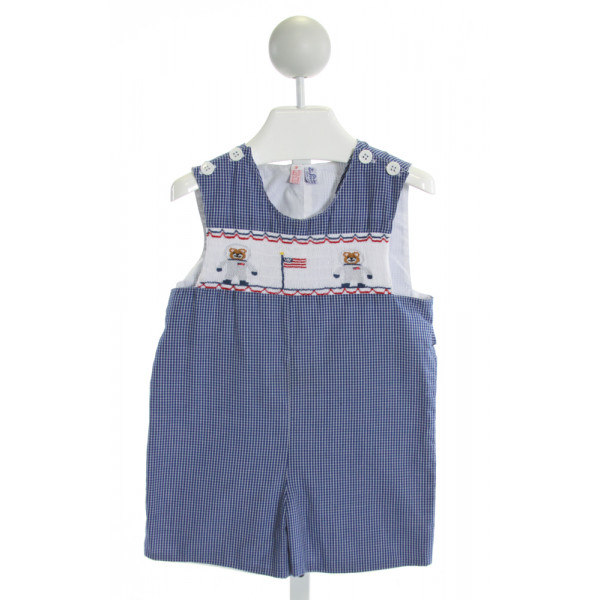 ORIENT EXPRESSED  ROYAL BLUE  GINGHAM SMOCKED JOHN JOHN/ SHORTALL