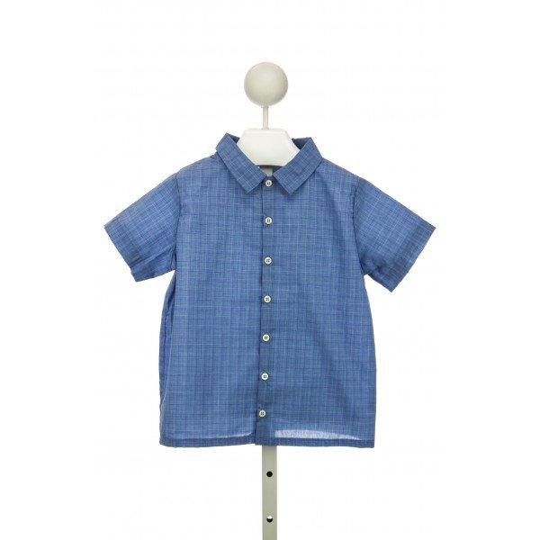 LITTLE LAUNDRY WALKER SHIRT S/S IN ROYAL/GREEN PLAID