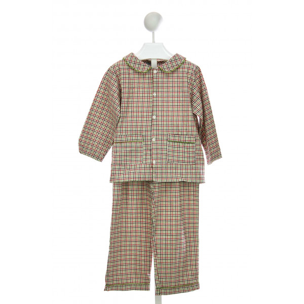 LITTLE LAUNDRY BRADFORD LOUNGEWEAR SET IN RED, GREEN, AND BROWN TWILL