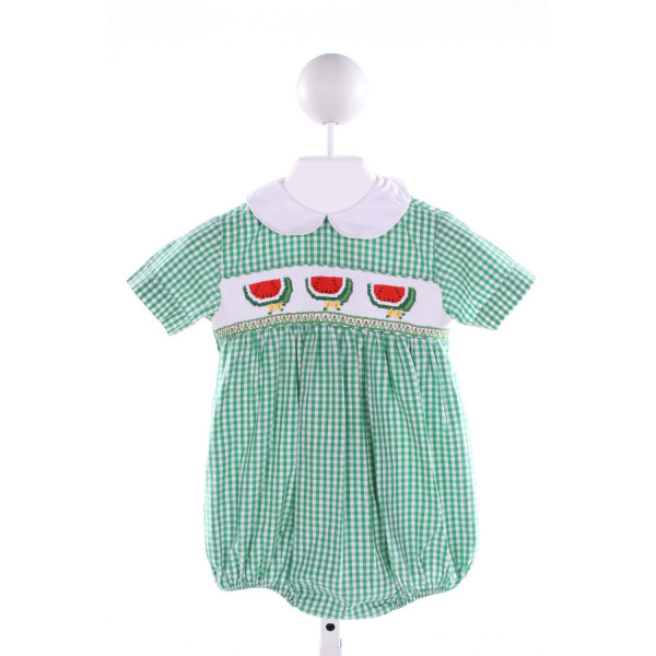 SILLY GOOSE  GREEN  GINGHAM SMOCKED BUBBLE