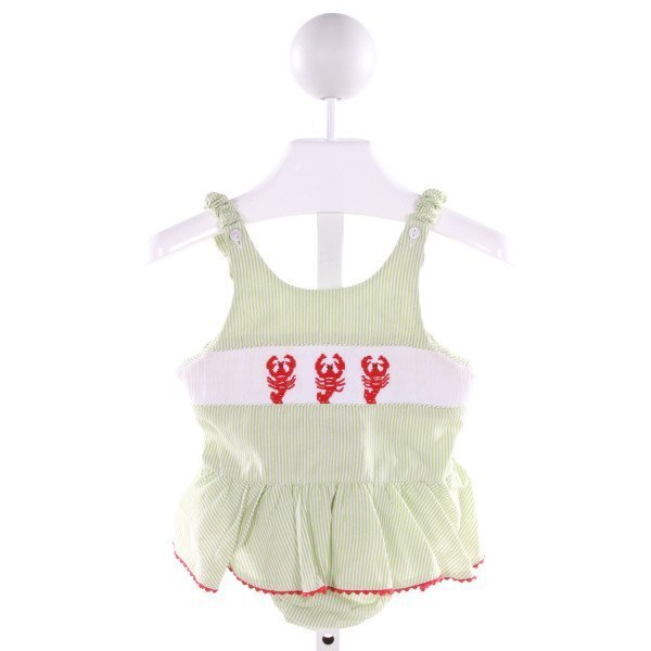 SILLY GOOSE  LT GREEN  STRIPED SMOCKED SWIMSUIT WITH RUFFLE