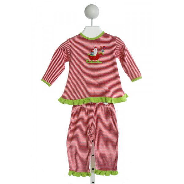 SQUIGGLES  RED  STRIPED EMBROIDERED 2-PIECE OUTFIT WITH RUFFLE