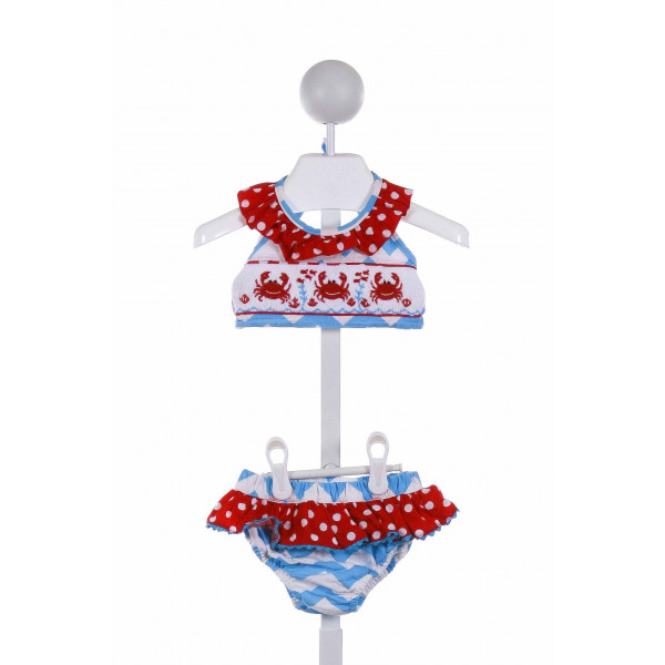 SMOCKED OR NOT  MULTI-COLOR  POLKA DOT SMOCKED 2-PIECE SWIMSUIT WITH RUFFLE