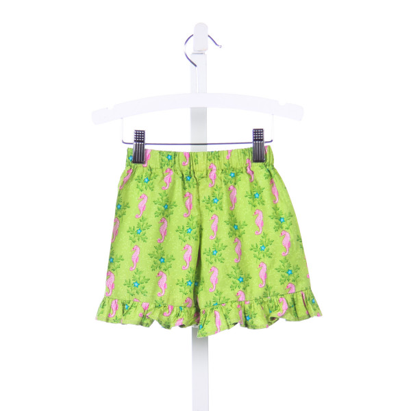 SEW CHILDISH GREEN AND PINK SEAHORSE RUFFLE SHORTS