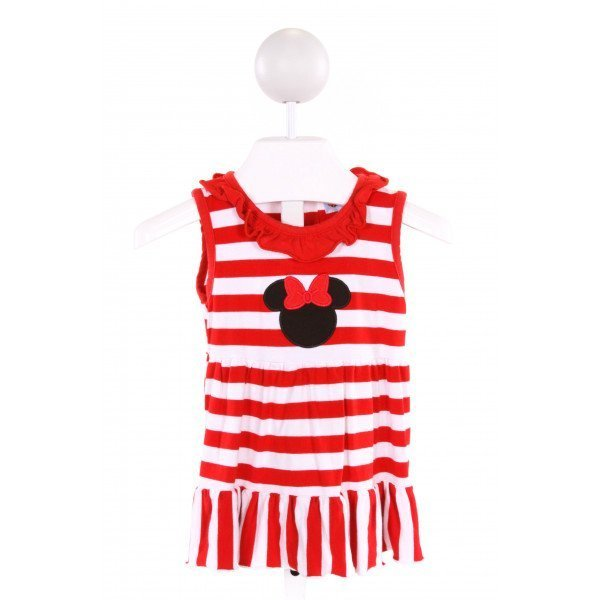 THE SMOCKING BUG  RED  STRIPED EMBROIDERED KNIT DRESS WITH RUFFLE