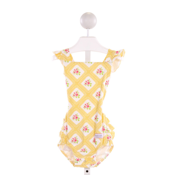 SWEET HONEY  YELLOW  FLORAL PRINTED DESIGN BUBBLE WITH RUFFLE