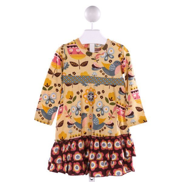 JELLY THE PUG  MULTI-COLOR  FLORAL PRINTED DESIGN KNIT DRESS WITH RUFFLE