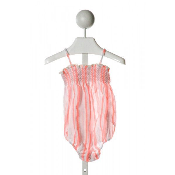 EGG  PINK  STRIPED SMOCKED BUBBLE WITH RUFFLE
