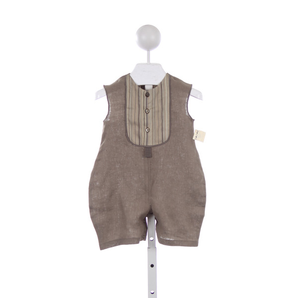 TAUPINETTE BROWN LINEN ROMPER *NO SIZE TAG RUNS LIKE SIZE 18 MONTHS