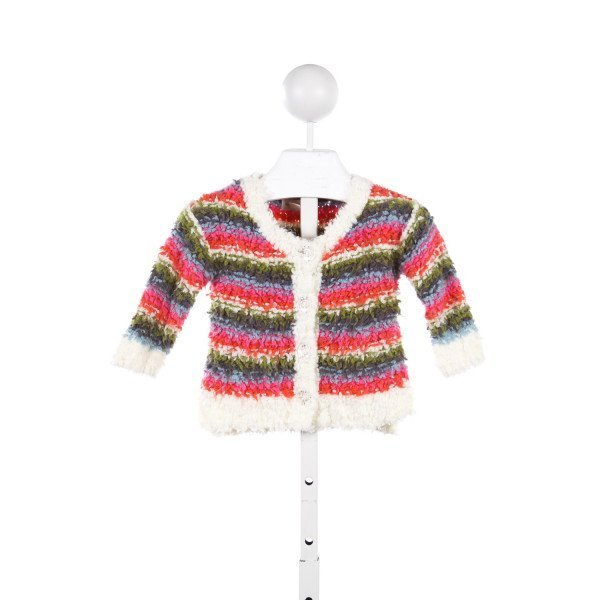 MIMI & MAGGIE MULTI COLOR FUZZY SWEATER WITH CRYSTAL BUTTONS