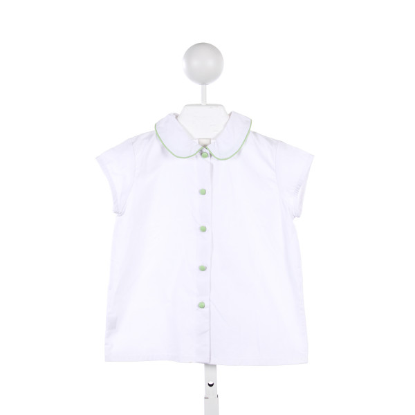 EMILY LACEY WHITE BLOUSE WITH GREEN PIPING AND BUTTONS
