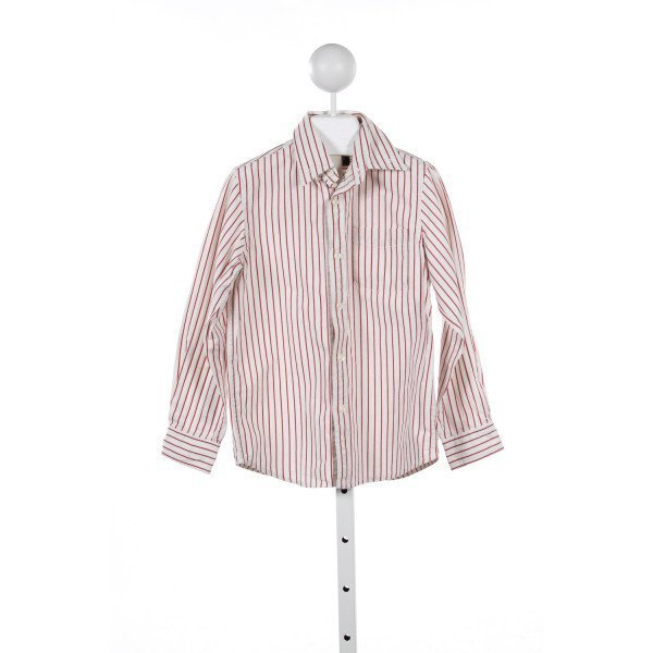 E. LAND RED AND IVORY STRIPED SHIRT *(FAINT STAIN ON SLEEVE)