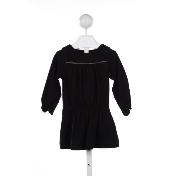 FLEURISSE BLACK KNIT DRESS WITH GOLD TRIM