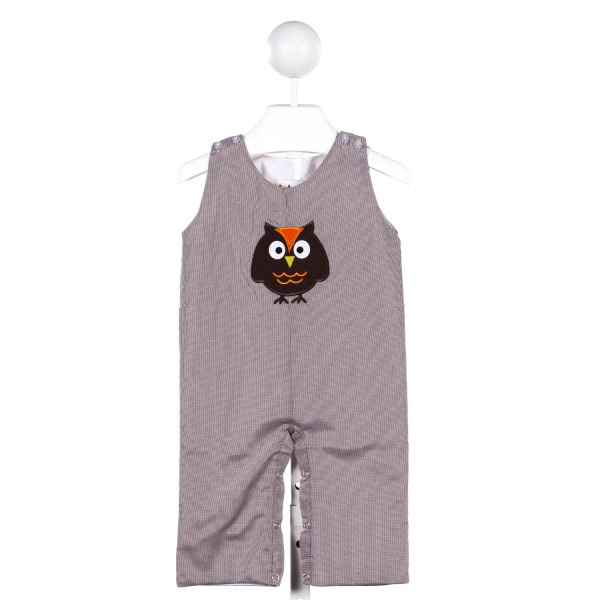 BABEENI BROWN MICRO-GINGHAM LONG-ALL WITH OWL APPLIQUE
