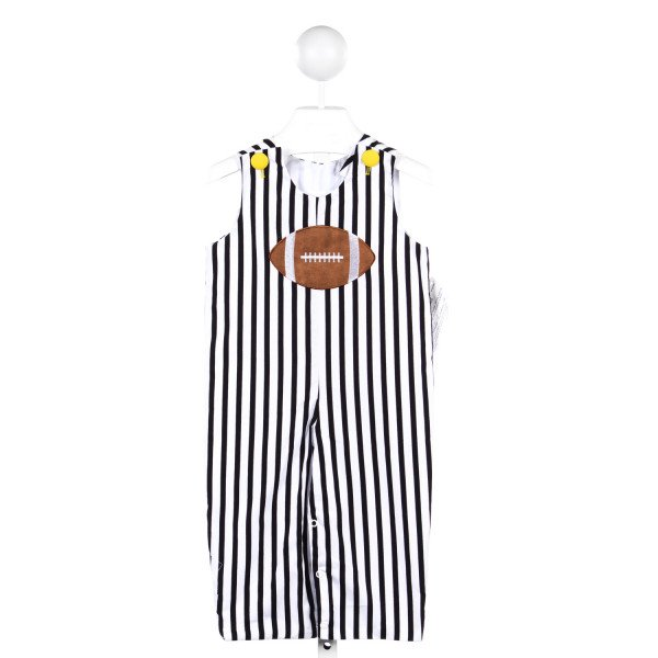 JACOB'S LADDER BLACK AND WHITE STRIPE LONG-ALL WITH FOOTBALL APPLIQUE