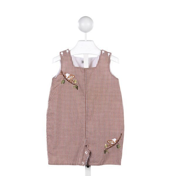 ROYAL KIDZ BROWN GINGHAM JOHN-JOHN WITH EMBROIDERED MONKEYS *FAINT STAIN ON FRONT