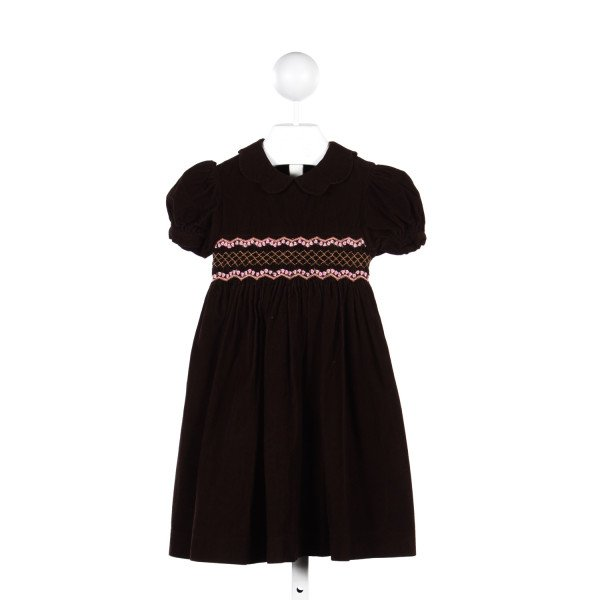 CHOCOLATE SOUP BROWN CORDUROY DRESS WITH PINK SMOCKING