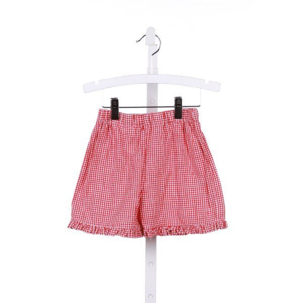 TENNILLE KIDS  RED  GINGHAM  SHORTS WITH RUFFLE