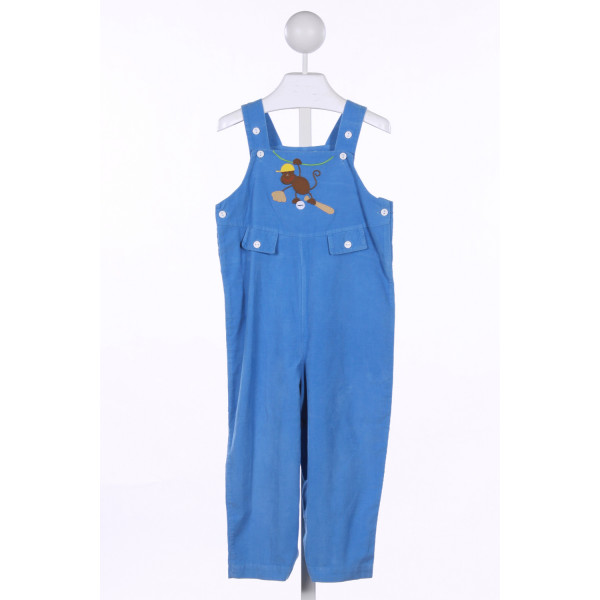 MONDAY'S CHILD  BLUE CORDUROY  APPLIQUED LONGALL/ROMPER
