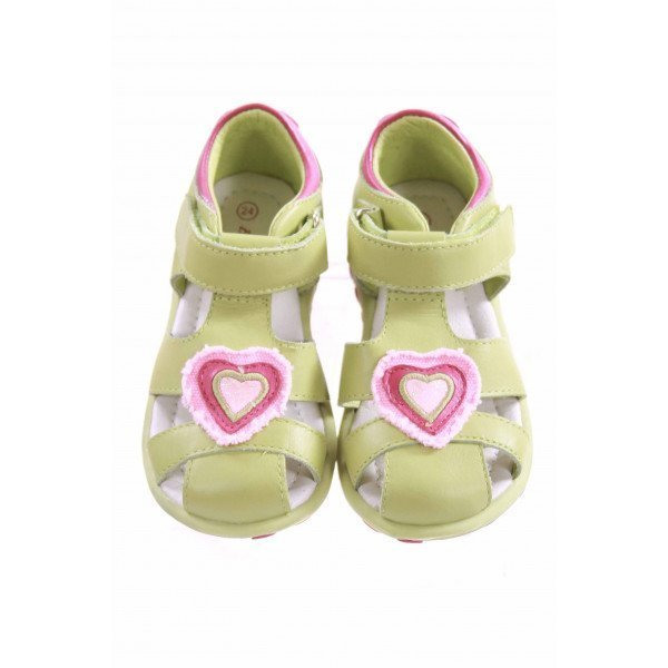 EURO'S BY WILLITS GREEN LEATHER SANDALS WITH HEART DESIGN *EU SIZE 24, EQUIVALENT TO SIZE 8 *NWOT