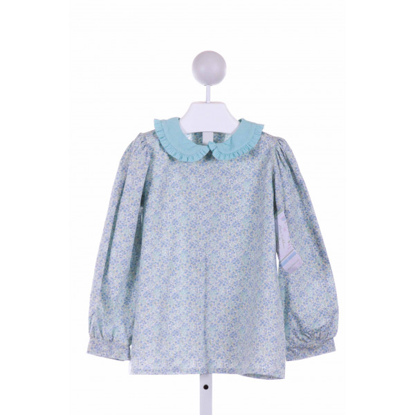 ALICE KATHLEEN  LT BLUE  FLORAL  CLOTH LS SHIRT WITH RUFFLE