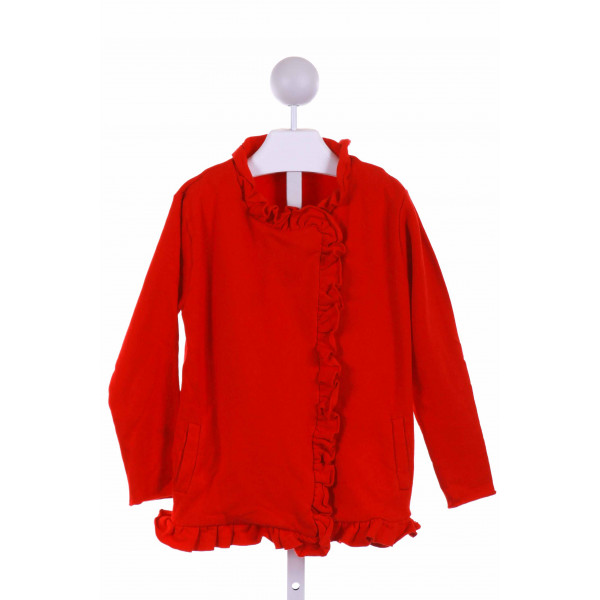 BELLA BLISS  RED KNIT   DRESSY OUTERWEAR WITH RUFFLE