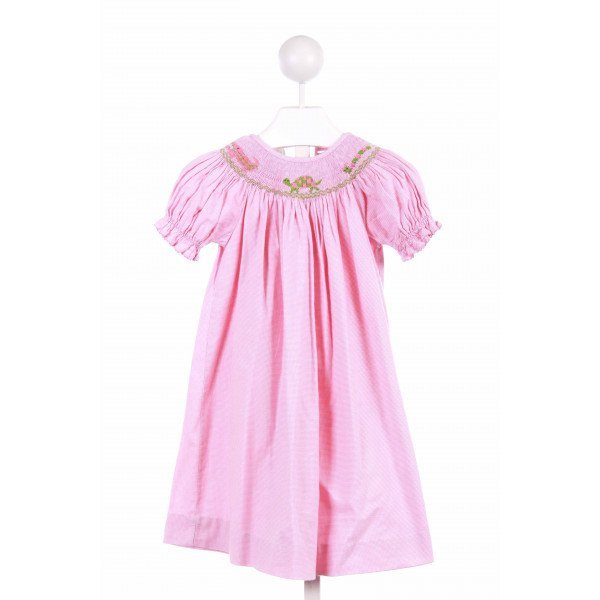 COLLECTION BEBE  PINK  GINGHAM SMOCKED CASUAL DRESS WITH RIC RAC