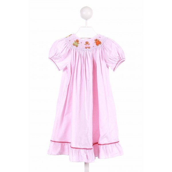 COLLECTION BEBE  PINK CORDUROY  SMOCKED CASUAL DRESS WITH RIC RAC