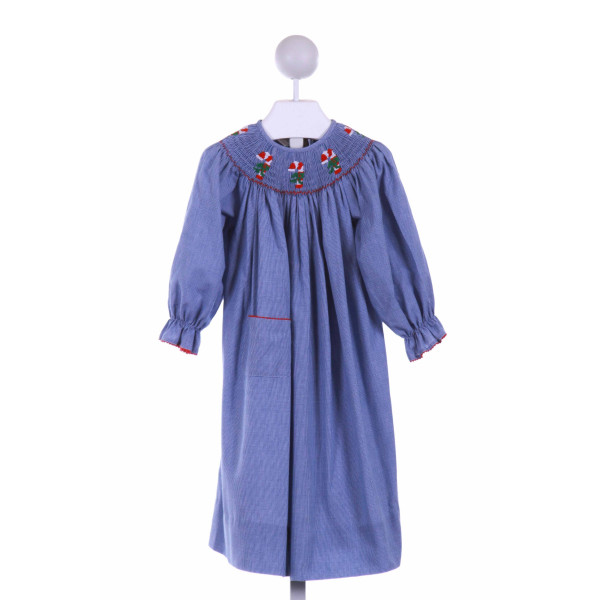 AMANDA REMEMBERED  BLUE  MICROCHECK SMOCKED CASUAL DRESS