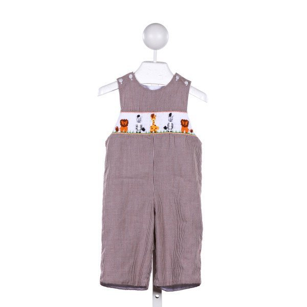 CUKEES  BROWN  GINGHAM SMOCKED ROMPER