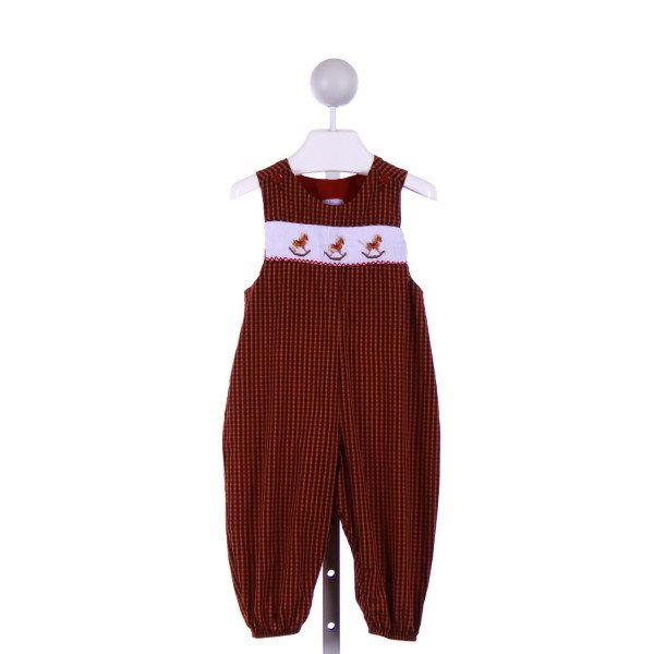 BOW PEEP  RED  PLAID SMOCKED LONGALL/ROMPER