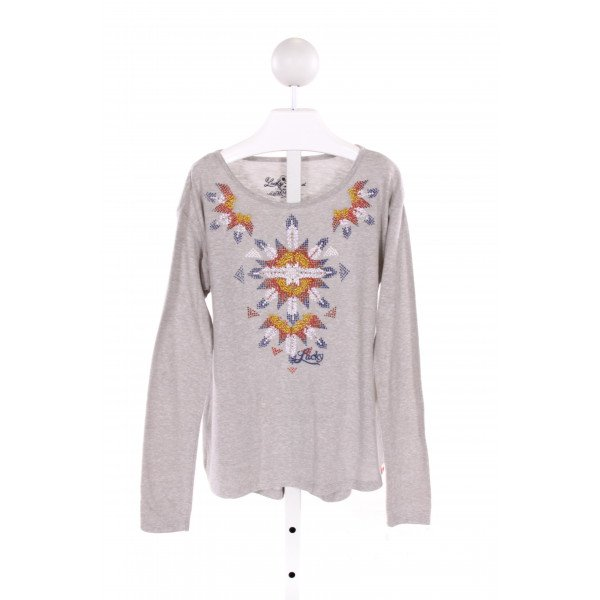 LUCKY BRAND  GRAY   EMBROIDERED KNIT LS SHIRT