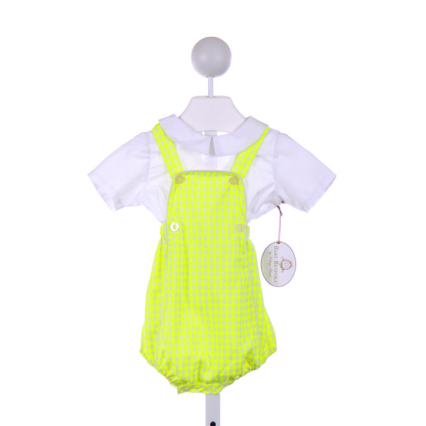 BABY BESPOKE  BRIGHT YELLOW  GINGHAM  2-PIECE OUTFIT