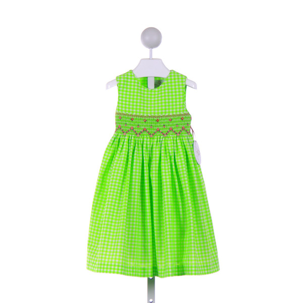 BABY BESPOKE  LIME GREEN  GINGHAM SMOCKED CASUAL DRESS