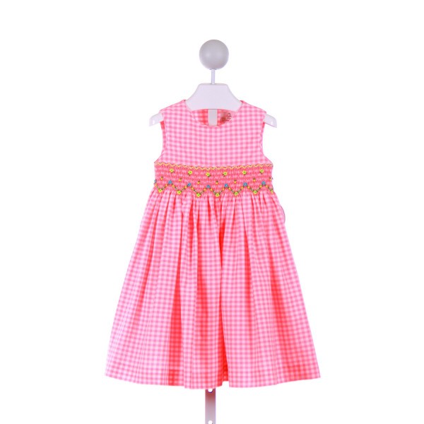 BABY BESPOKE  HOT PINK  GINGHAM SMOCKED CASUAL DRESS