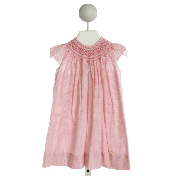 ORIENT EXPRESSED  PINK  PLAID SMOCKED DRESS WITH RIC RAC